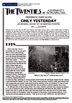 only yesterday by frederick allen 2018-8-16  download citation on researchgate | on jan 1, 2010, frederick lewis allen and others published only yesterday: an informal history of the 1920's .