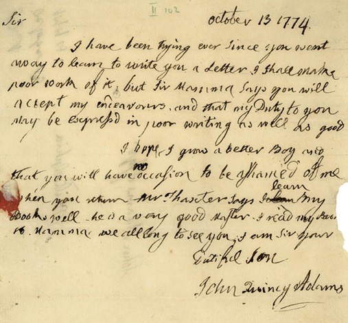 John Quincy Adams, letter to John Adams, October 13, 1774