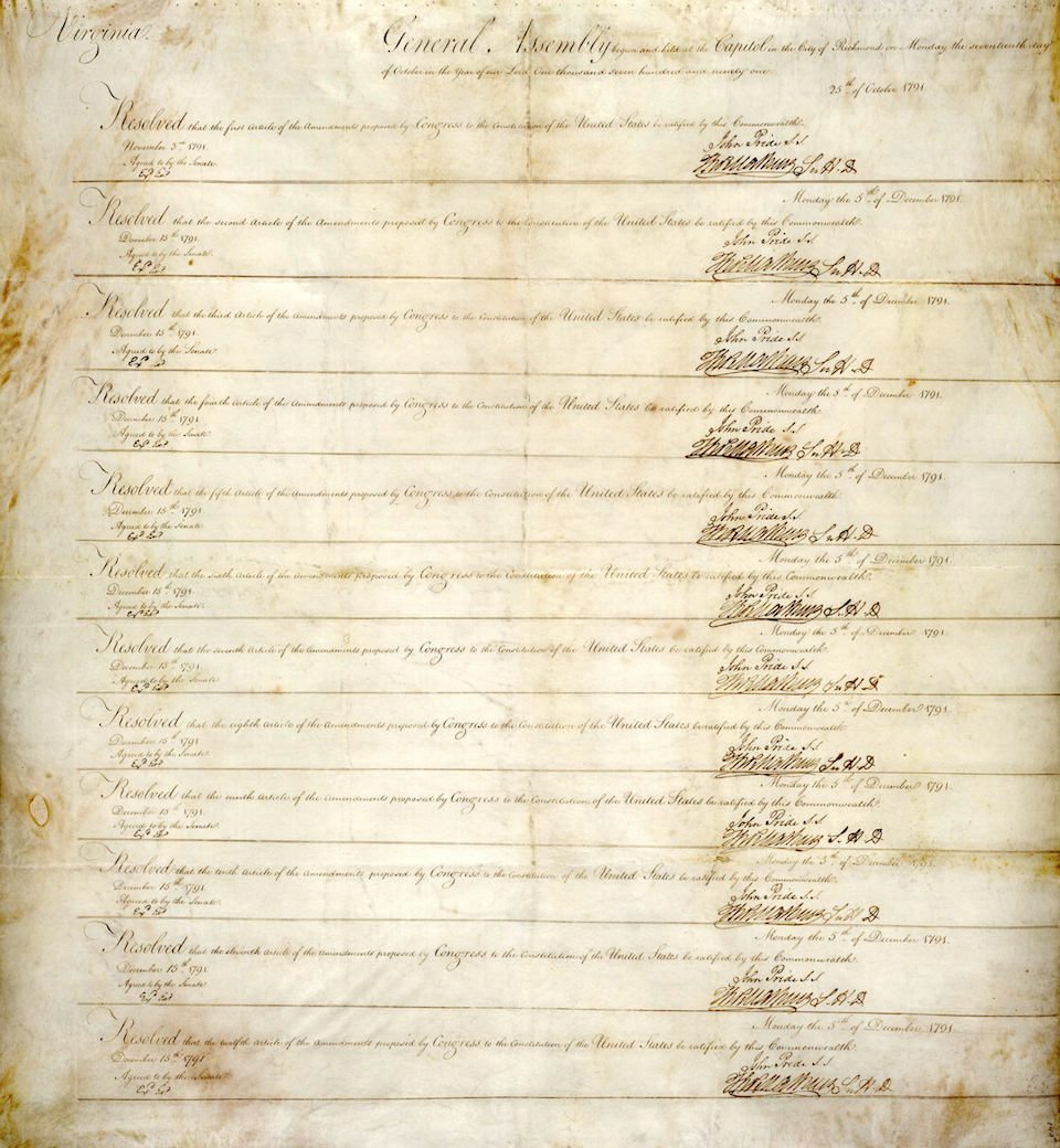 Virginia's Ratification, December 15, 1791