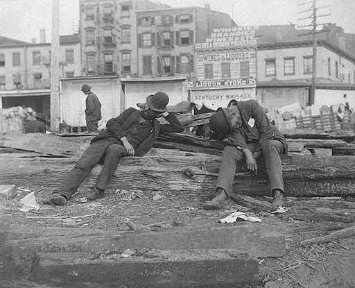 Men presumably sleeping off a drunken spree, New York City, 1892