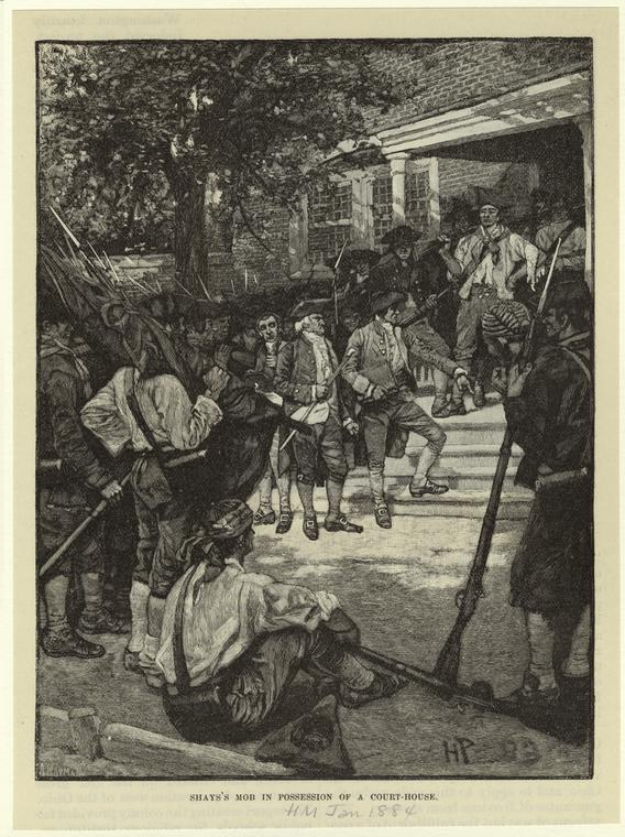 """Shays's mob in possession of a court-house,"" 1884."