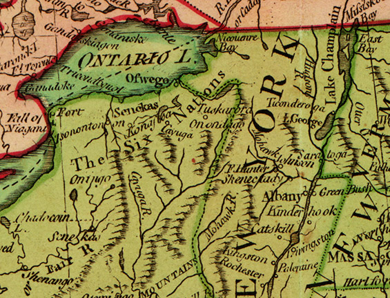 The United States of America, with the British possessions of Canada, Nova Scotia, New Brunswick and Newfoundland, 1794 (detail).