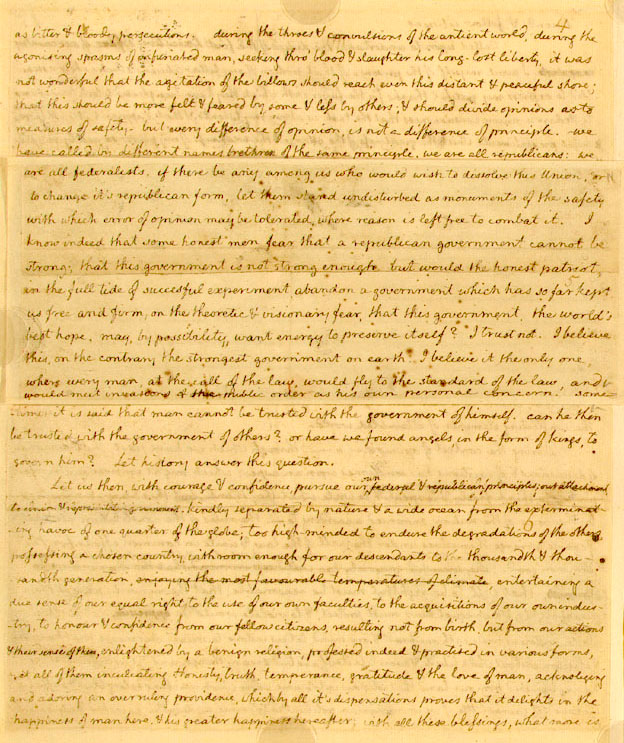 What were the main points of significance in Jefferson's Inaugural Address ?