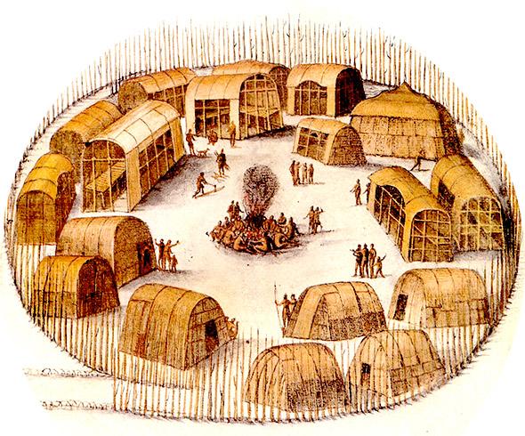 illustration of an indian village circa 1585