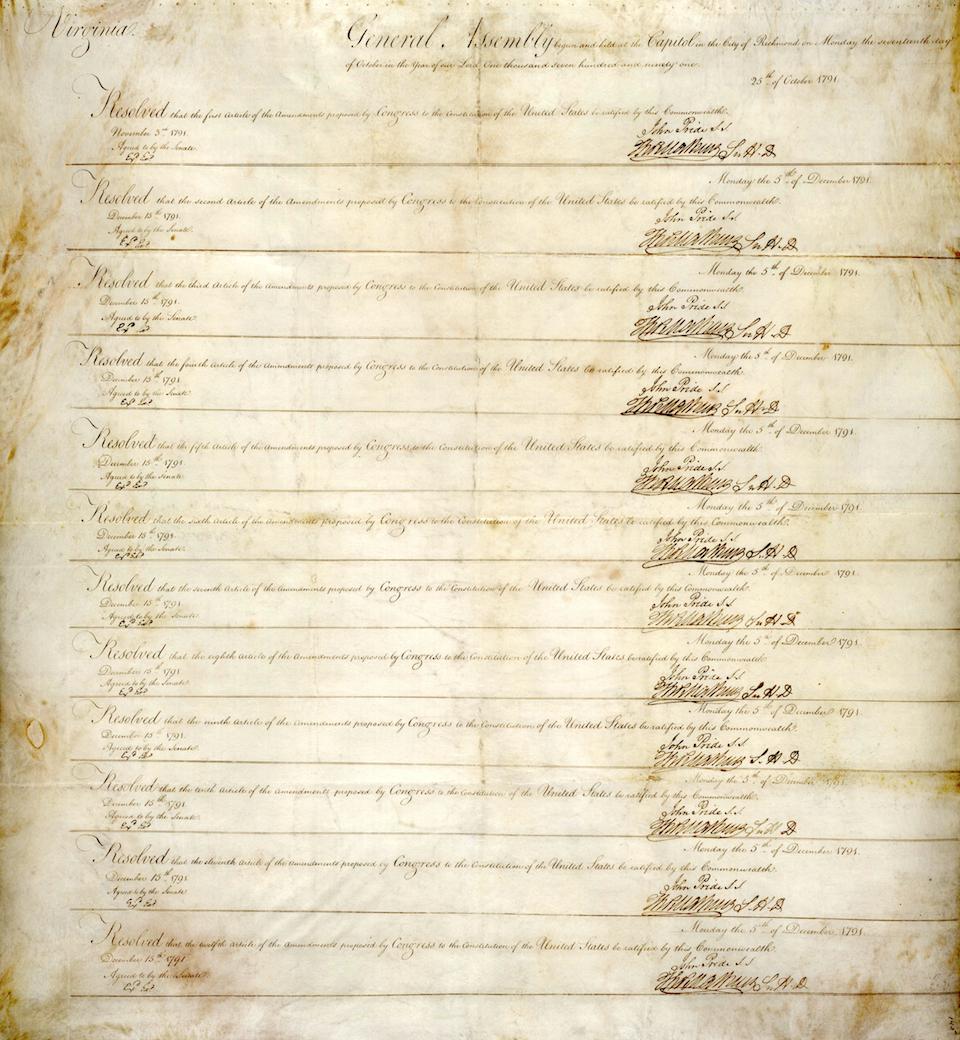 Virginia's Ratification, December 15, 1791