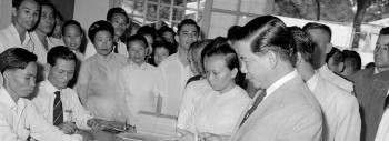 South Vietnamese President Ngo Dinh Diem votes in Saigon, Aug. 30, 1959